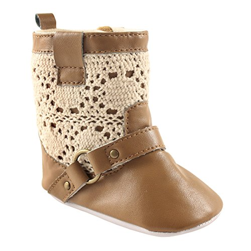 Luvable Friends Girls' Crochet Lace Boot Crib Shoe, Tan, 0-6 Months M US Infant