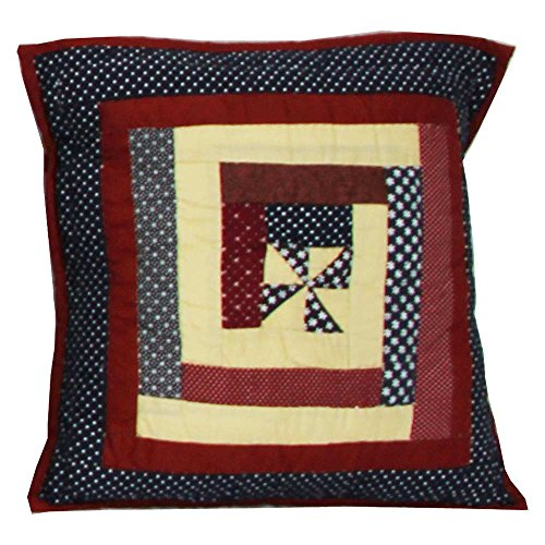 Patch Magic Midnight Log Cabin Toss Pillow, 16-Inch by 16-Inch