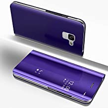 Galaxy A8 2018 Mirror Case,Samsung Galaxy A8 2018 Case Leather Purple Phone Protective Cover,Gostyle Fashion Slim Plating Hard Flip Shockproof Case with Kickstand Function Make up Mirror Clear Case