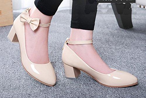 Aisun Mode Féminine Boucle Arcs Bout Rond Boucle Mi Talons Chunky Pompes Chaussures Avec Bride À La Cheville Beige