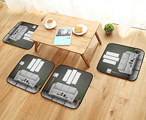 UHOO2018 Universal Chair Cushions Isolated Three wart Canvas Sofa lamp Plant and Table in Room Interior Personalized Durable W15.5 x L15.5/4PCS Set - Universal Chaise Cushion Canvas