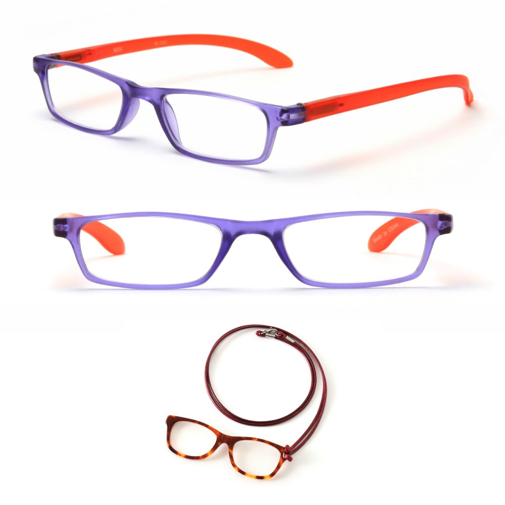 MIDI Readers / Reading Glasses for Women (M-202) Designed in Japan / Fine Spring Hinge for Comfort fit / Available in 3 Colors with an Acetate Loupe (Red, +2.50)