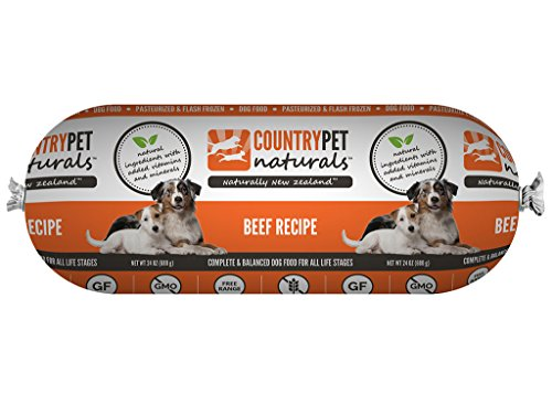 CountryPet Naturals Pasteurized Frozen Dog Food, Beef Recipe (24 lbs Total, 16 Rolls each 1.5 lbs) - Natural Ingredients with Added Vitamins & Minerals - Made in New Zealand by CountryPet Naturals