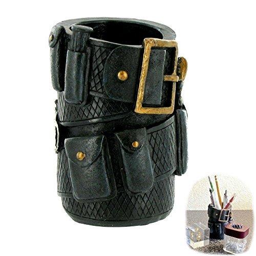 Polyresin Police Officer Belt Pen Pencil Holder Desk Organizer | Gift Idea Police Memorabilia Ammo Cowboy Home Office Desk Functional Decor -