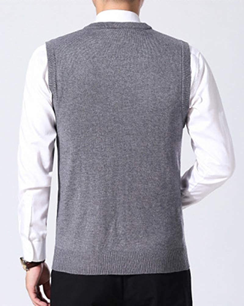 Yonglan Mens Wool Blend Knitted Tank Tops V-Neck Sleeveless Ribbed Vest Jumper Sweater Slipover Knitwear