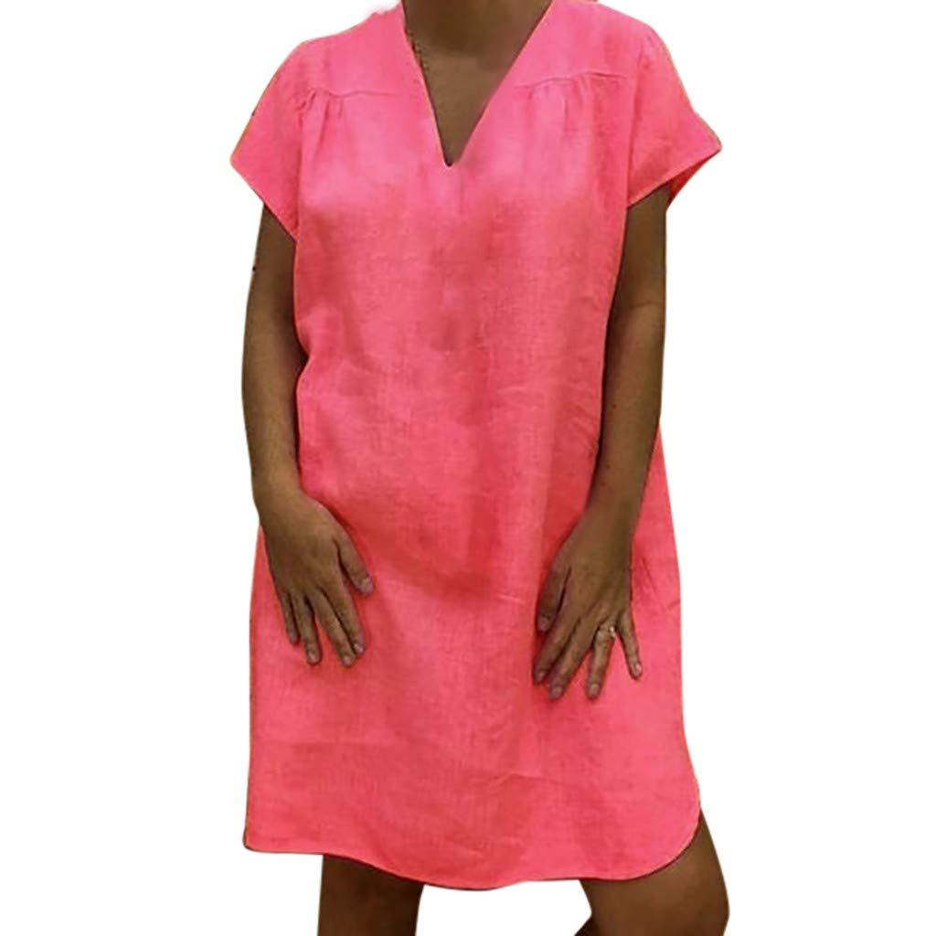 Women Dresses Casual,Teen Girl Short Sleeve V-Neck Linen Dress Mini Dresses Vintage Solid Short Dresses Shirt Dresses