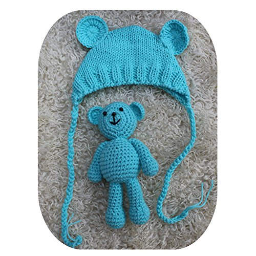 Pinbo Newborn Baby Photography Prop Bear Hat Beanie with Bear Dolls Accessories - Bear Blue Beanie