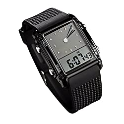 Carlien 0814 Black Pointer Led Light Alarm Digital Analog silicon tape Sports Wrist Watch