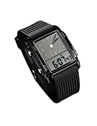 Skmei Men's Waterproof Rectangle Dial Wrist Watch with Five Colors Optional LED Backlight Color Black