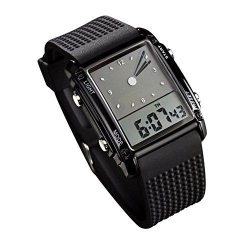 Carlien 0814 Black Pointer Led Light Alarm Digital Analog silicon tape Sports Wrist (Digital Analog)