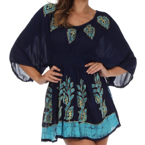 Sakkas 982 Embroidered Batik Gauzy Cotton Tunic Blouse - Blue/Turquoise - One (Smocked Waist Tunic)