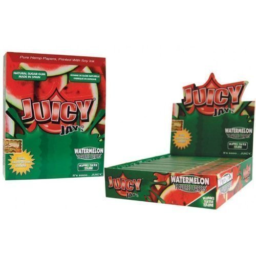 1 Box Juicy Jay's King Size Slim Rolling Papers - Watermelon Flavored - 24 Packs / 1 Full Box