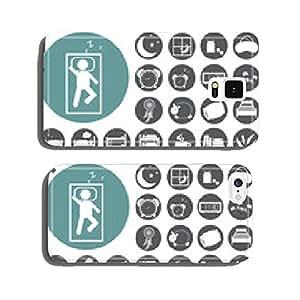 sleep concept icons set: pillow, bed, moon, sheep, owl, zzz. Vec cell phone cover case Samsung S6
