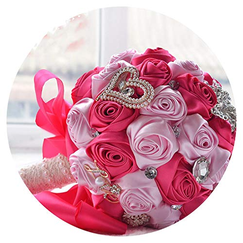 Bridal Wedding Flowers Satin Roses Bride Bouquets Love Brooch Bouquet Crystals Artificial Rose Wedding Bouquet FE64,Hot Pink and Pink