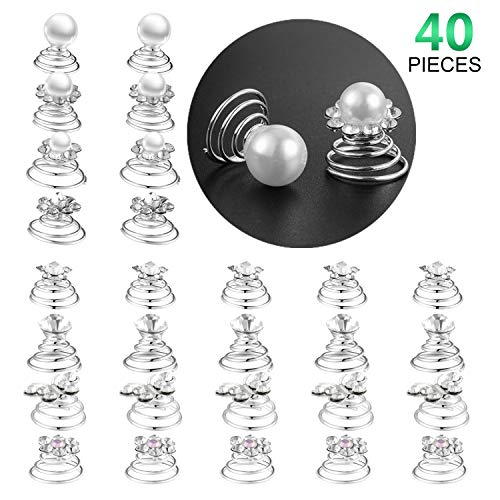 - 40 Pieces Spiral Hair Pins Swirl Hair Twists Coils Rhinestone Hair Spiral Jewelry Hair Pin Clip Accessories for Wedding Bridal Party Favors, 8 Styles