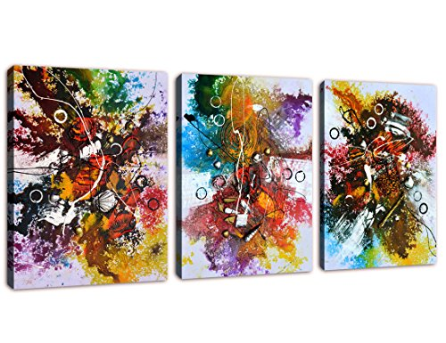 Colorful Abstract Painting Canvas Wall Art Prints Contemporary Picture Artwork with Heavy Textures Framed Ready to Hang for Home Office Wall Decor (Art Framed Kitchen Wall)