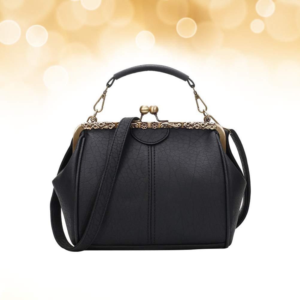 Women Retro PU Pouch Shoulder Tote Crossbody Bag Evening Bag Handbag Ladies Wedding Clutch Female Party Banquet Bag Black