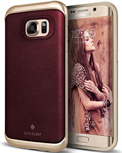 Caseology for Galaxy S7 Edge case [Envoy Series] - Classic Rich Texture Luxury Slim Premium Leather Design Case for Galaxy S7 Edge - Leather Cherry - Dollar For S5 Cases Galaxy