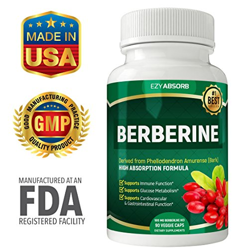 EzyAbsorb Gluten-Free Berberine 500mg, 90 Veggie Capsules for Blood Sugar Support w LA-3 AMPK Metabolic Activator