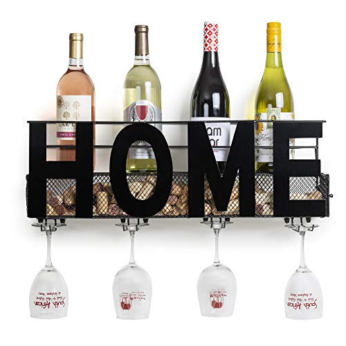 "Besti Premium Black Wall Mount Metal Wine Rack with ""Home"" Word Hanging Horizontal Bottle Holder Storage Decorative Display – Sturdy Construction –Home Décor for Living Room Or Kitchen]()"