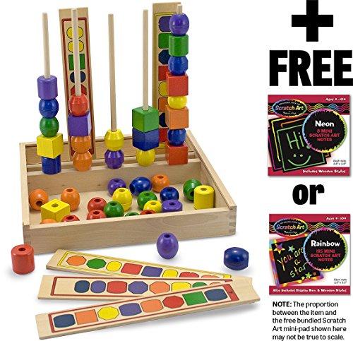 Mini Wooden Bead Set - Melissa & Doug Bead Sequencing Set & 1 Scratch Art Mini-Pad Bundle (00570)