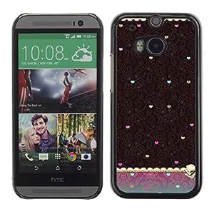 For HTC One M8 Case , Vintage Teal Brown Wallpaper Heart - Diseño Patrón Teléfono Caso Cubierta Case Bumper Duro Protección Case Cover Funda