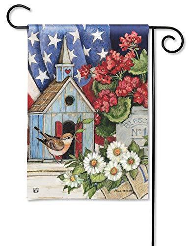 (BreezeArt Studio M Patriotic Birdhouse Decorative Spring Summer Floral Garden Flag - Premium Quality, 12.5 x 18 Inches)