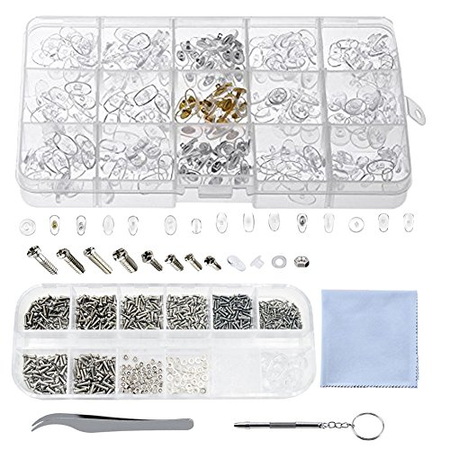 Eyeglass Repair Kit, 150 Pairs Eyeglass Nose Pads and 1100 Pcs Eye Glasses Screws Kit Nut Washer with Tweezer Screwdriver for Glasses Sunglass Repair (Best Of Asia Carrera)