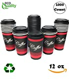 Restaurant Grade 12 Oz Paper Coffee Cups with Black Dome Lids - 1000 Count By EcoQuality Disposable Cups For Hot and Cold Drinks. Great For Tea, Soda, Shops, Cafes, and Concession Stands.