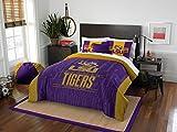 LSU Tigers - 3 Piece FULL / QUEEN SIZE Printed Comforter & Shams - Entire Set Includes: 1 Full / Queen Comforter (86'' x 86'') & 2 Pillow Shams - NCAA College Bedding Bedroom Accessories