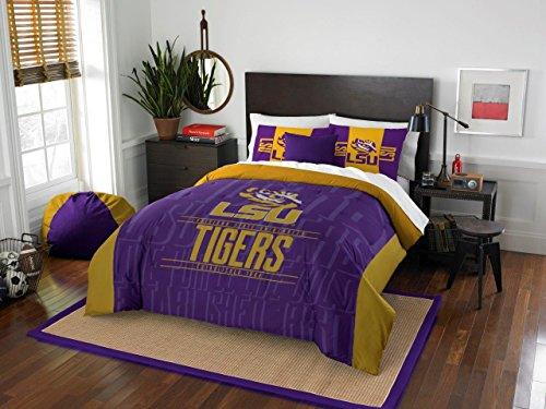 LSU Tigers - 3 Piece FULL / QUEEN SIZE Printed Comforter & Shams - Entire Set Includes: 1 Full / Queen Comforter (86
