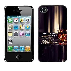 Paccase / SLIM PC / Aliminium Casa Carcasa Funda Case Cover para - Life Is Short Quote Enjoy Motivational - Apple Iphone 4 / 4S