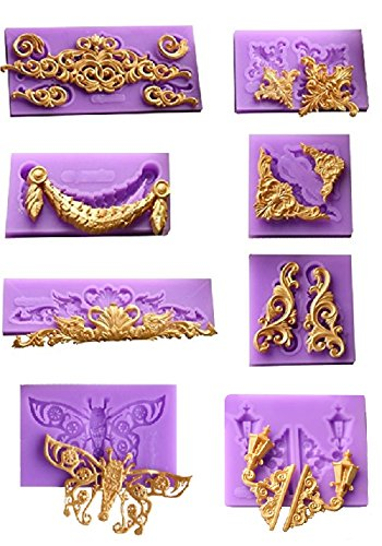 Clay Lace - (8 in Set)Baroque Style Curlicues Scroll Lace Fondant Silicone Mold for Sugarcraft, Cake Border Decoration, Cupcake Topper, Jewelry, Polymer Clay, Crafting Projects By Palker sky