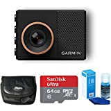 Garmin Dash Cam 55 Bundle with 64GB Ultra MicroSDXC UHS-I Memory Card, Universal Screen Cleaning, and Ultra-Compact Carrying Case