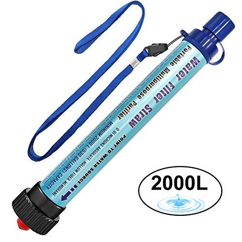🥇 Filtro de Agua 2000L Personal Sistema de Filtración de Agua Mini Purificador de Agua Portátil para Excursionismo Campamento Acampada Supervivencia y Preparación de Emergencias