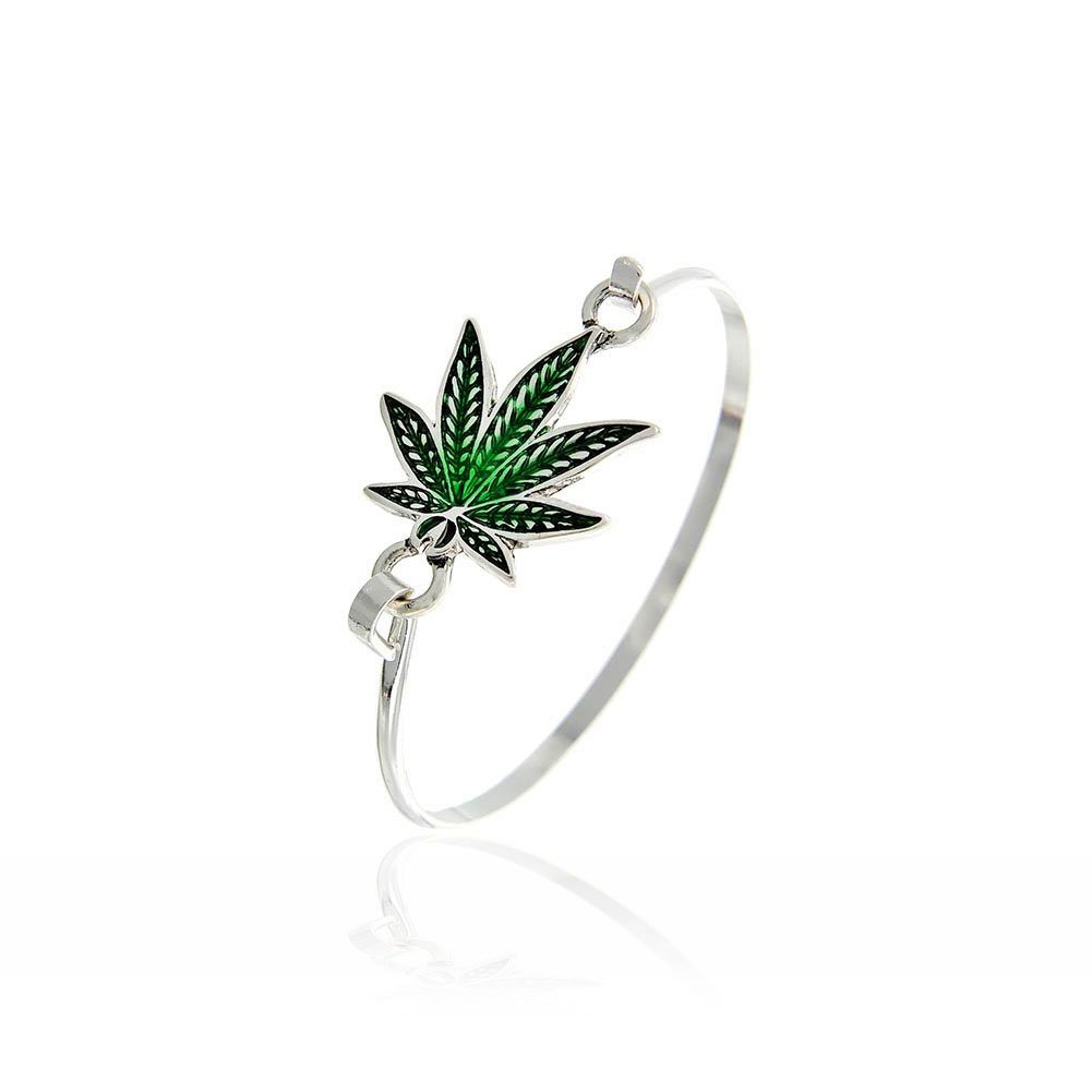 Green Enameled Marijuana/Cannabis/Hemp Leaf Bangle