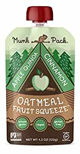 Munk Pack Oatmeal Fruit Squeeze | Apple Quinoa Cinnamon, Ready-to-Eat Oatmeal On The Go, 4.2 oz, 6 Pack