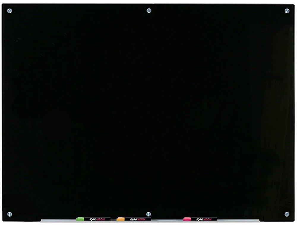 Black Glass Dry-Erase Board - 35 1/2'' x 47 1/4'' - 90 x 120 cm - Includes Board and Aluminum Marker Tray