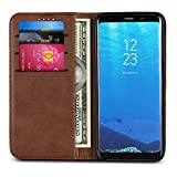 "Galaxy S8 Wallet Case, PU Leather Pouch Folio Flip Purse Bag Wallet Case with Credit Card Holder Magnetic Closure Protective Cell Phone Cover for Samsung Galaxy S8 (2017) 5.6"" - Dark Brown"
