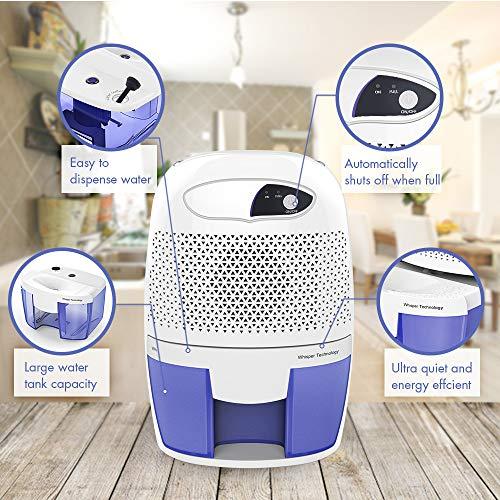 Hysure Quiet and Portable Dehumidifier Electric Deshumidificador, Home Dehumidifier for Bathroom, Crawl Space, Bedroom, RV, Baby Room …