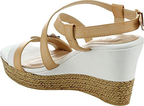 Belts.com Lierre 1 Sandale À Talon Compensé Pour Femme Avec Fines Bretelles Et Semelle Beige (beige, 8.5)