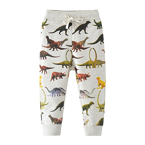 Monkey Pattern (HUAER& Boys Cartoon Print Monkey Pattern Cotton Pants Drawstring Elastic Sweatpants (5-6T(height110-120cm/42-46inch), Dinosaur))