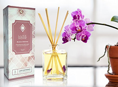 Luxe Home Black Orchid Fragrance Reed Diffuser Oil Set | Sultry Blend of Frankincense, Bergamot, Black Orchid, Black Plum & Patchouli Scented Sticks | Perfect Housewarming Gift Idea!