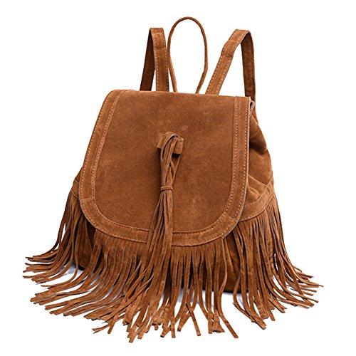 Women Girls Vintage Fringe Tassel Backpack Fashion Shoulder Bag Casual Schoolbag Daypack Purse Book Bag Travel Bag Handbag (Fringed Drawstring)