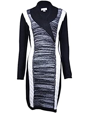 Calvin Klein Women's Colorblock Shawl Collar Sweater Dress