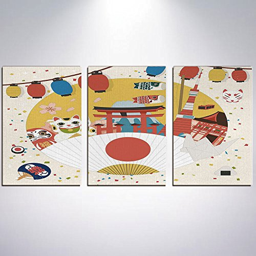 3 Panel Canvas Prints Wall Art for Home Decoration Lantern Print On Canvas Giclee Artwork For Wall DecorJapanese Inspired Commercial Pattern Various Asian Culture Items Cool Cat (Cool Cat Giclee Pattern)