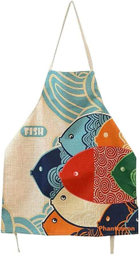 Phantomon Aprons for Women Cartoon Japanese Style Lovely Fish Print Chef Kitchen Cooking Funny Aprons (Adults)