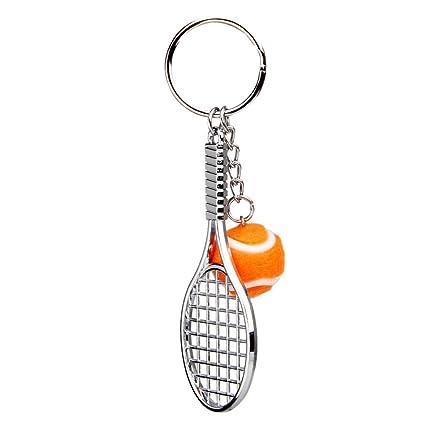 Llaveros Colgantes Decoraciones Mini Raqueta de Tenis Metal - Naranja