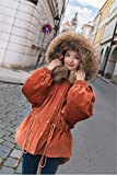 Generic 2018 new winter hooded drawstring waist loose cotton jacket collar Nagymaros for women girl