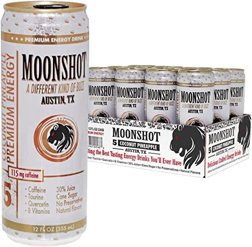 MOONSHOT Sparkling Coconut Pineapple Energy Drink • 30% Juice • 115mg Caffeine • Pure Cane Sugar • No Artificial Flavors, Sweeteners, Colors or Preservatives • The Best Natural Energy Drink